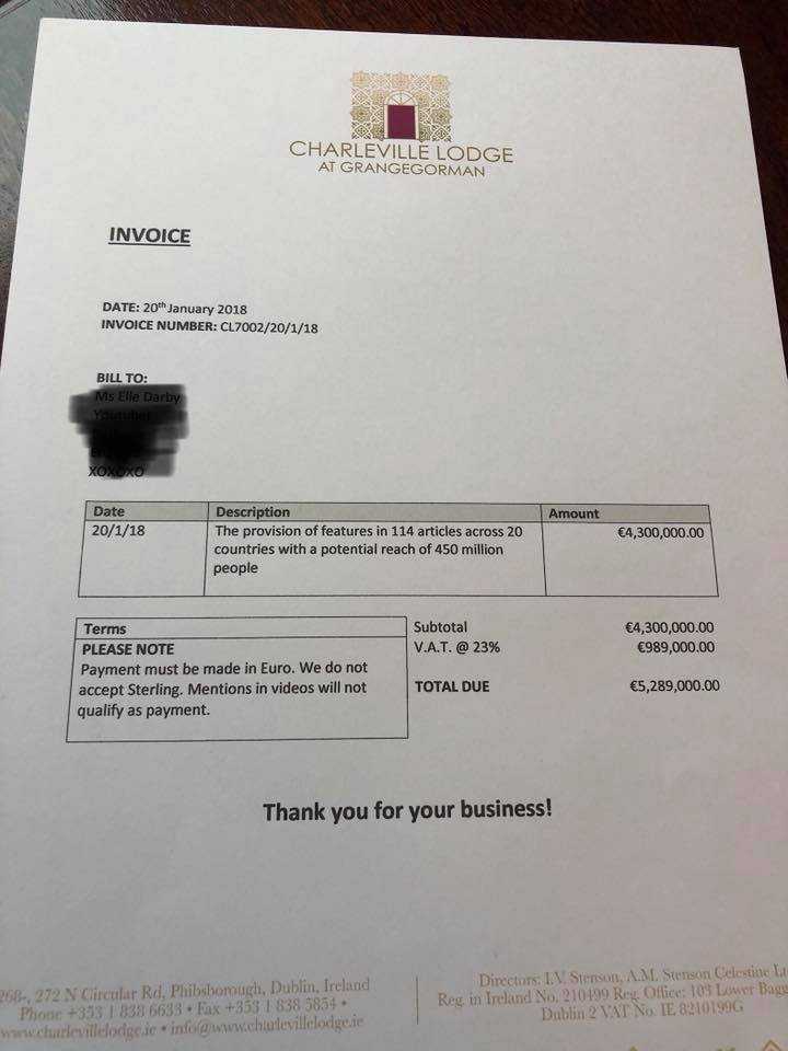 Stenson sent Darby a bill for €5'289'000 for all the publicity
